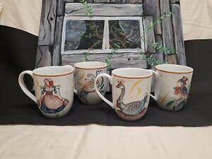 Williams Sonoma 12 Days of Christmas Set of 4 Mugs Porcelain 15 oz Discontinued
