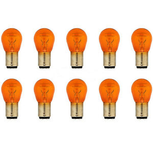 Amber 1157NA Stock Tail Light Rear Brake Stop Turn Signal Lamps Bulbs Box Of 10