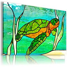 STAINED GLASS TURTLE PRINT Canvas Wall Art Picture  AB586 MATAGA UNFRAMED-ROLLED