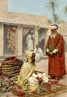 Oil painting giulio rosati - the rug merchant old Arabs men in the market canvas