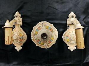 3 ANTIQUE ART DECO CAST ALLUMINON CEILING PAINTED LIGHT FIXTURE WALL SCONCES