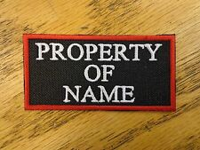 Custom Embroidered Property of Name 2 x 4 Patch MC Biker Vest Club USA Made