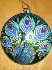 Blue Peacock Glass with Rhinestones Christmas Tree Ornament