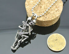 Fashion Men Tibet Silver Black Stainless Steel Skull Pendant Chain Necklace CAXI