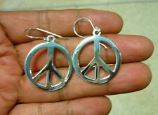 NEW 925 Sterling Silver Peace Sign Symbol Charm Earrings large 28 mm Drop/Dangle