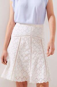 Ann Taylor LOFT Cotton Cutout Eyelet Skirt Size 0, 4, 6 Whisper White Color NWT