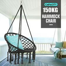 330 Pounds Cotton Hanging Rope Hammock Swing Chair Round Indoor Outdoor Black US