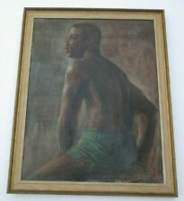 JOE STILES ANTIQUE VINTAGE AFRICAN AMERICAN PORTRAIT LARGE MALE HANDSOME MAN