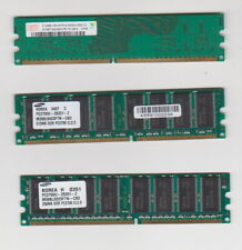 Three RAM memory modules -- two different DDR 512MB and one 1Rx 16 PC2 256MB