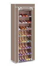 Vinsani 9 Tier Canvas Shoe Rack For Party Gym Work Shoes & Footwear - Brown