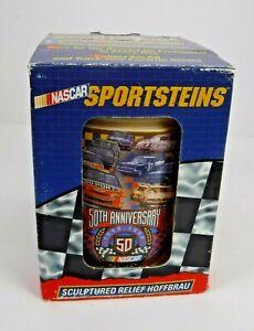 "Vtg 1998 DramTree Nascar 50th Anniversary 6"" Mug Sports Stein 3D Ceramic Racing"