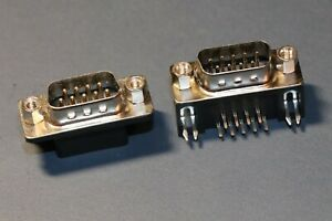 2x 9 Pin D-Sub male PCB solder connector RS232 Serial DB9