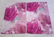 Lot 2 taies d'oreiller roses gris design 3D motif 76 x 51 cm NEUVES