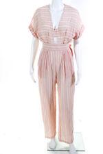 Mara Hoffman Womens V-Neck Striped Short Sleeve Romper Pink White Size 0