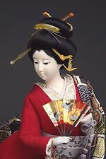 Japanese Gofun Geisha Doll w/Stunning Silk Brocade Kimono -Hinamatsuri-