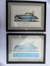 2 nice pictures in fromes of BMW 327 coupe sold as pair no reserve free p&p