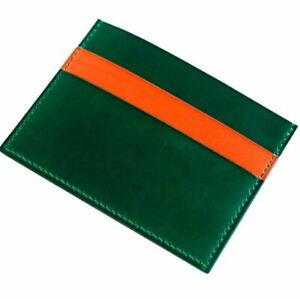 Three Pockets Flat Leather Wallet for mens Green and Orange