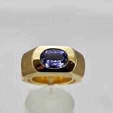 Tansanit 2,69ct Goldring Gelbgold 585 Ring Größe 56 Handarbeit Idar-Oberstein