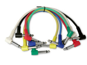 6 Mono Right Angled Jack Patch cables. Guitar effects FX Pedal Leads Studio cord