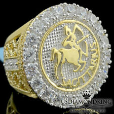 Sagittarus Yellow Gold Over Sterling Silver Zodiac Astrology Sign Horoscope Ring