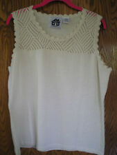 Storybook Knits crochet trim cream tank - NEW - Medium