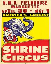 Vintage looking  Antique Rare Shrine Circus Poster   Marquette Michigan