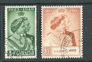 Gibraltar KGVI 1938 Royal Silver Wedding SG134/5 used