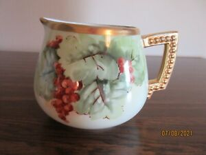 ANTIQUE BAVARIA HAND PAINTED SIGNED PITCHER, GRAPES BERRIES LEAVES