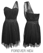 Forever New Tulle One shoulder black party dress - Size 8