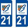 Département 21 sticker 2 autocollants style immatriculation AUTO PLAQUE