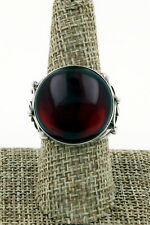 Poland V8 Signed Sterling Silver Large Oval Dark Baltic Amber Ring, Size 8.5