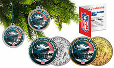 PHILADELPHIA EAGLES Christmas Tree Ornaments JFK Half Dollar US 2-Coin Set NFL