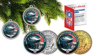 PHILADELPHIA EAGLES Christmas Tree Ornaments JFK Half Dollar US 2-Coin Set NFL