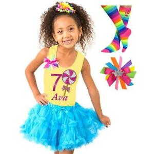 Candyland Lollipop 7th Birthday Girl Shirt Rainbow Tutu Outfit Socks Name Bow 7
