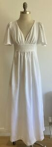 """1970s White Maxi Dress by """"Wendy"""" Made in England, Vintage Size 12 UK"""