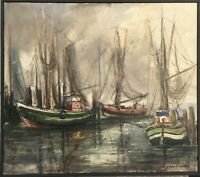 Oil Painting Bruno Fischer-Uwe 1915-1992 Fishing Boats IN Nordseehafen -
