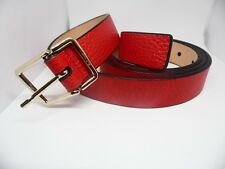 """PAUL SMITH WOMENS RED LEATHER BELT 38""""GRAIN EFFECT WITH BRASS SIGNED BUCKLE"""