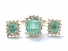 Fine Gem Green Colombian Emerald Diamond Yellow Gold Jewelry Ring/Earring 3.30Ct
