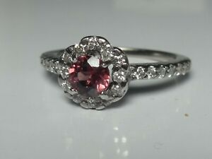 18CT WHITE GOLD RHODOLITE GARNET & DIAMOND HALO CLUSTER RING