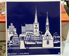 """""""Lübecker""""-  Blaugrundkachel von alfred Evers , motiv : neustadt i. H. / ostsee"""
