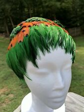 VTG 1960s FEATHER HAT ART DECO HEAD HAIR BAND PIECE GREEN ORANGE BELGIUM
