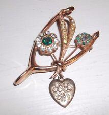 Vintage Signed Twice CORO STERLING SILVER Wishbone Pin Brooch w Dangling Heart!