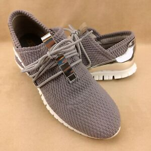 Cole Haan W12917 Womens ZeroGrand Gray/Silver/White Quilted Sneakers US Size 8.5