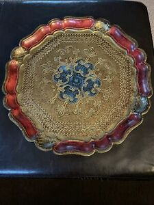 """Vintage Beautiful Gold Decorative  Wood Tray Handmade in Italy 14"""""""