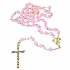 Round light pink glass rosary beads 42cm length gold chain center crucifix 6mm