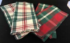 Lot of 4 Coordinating Christmas Hand Towels Red & White & Green Stripes Plaid