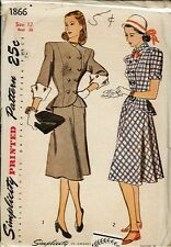 1940's Vintage Misses' Two-Piece Dress Sewing Pattern S1866 Size 12