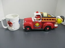 M&M Candy Dispenser & White Coffee Cup with Blue, Red, & Yellow Raised Character