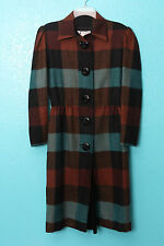 Lanvin Plaid Large Button Orangle Brown Teal Vintage Style VLV Shirt Dress Sz 42