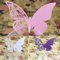 50pcs Table Mark Wine Glass Butterfly Name Place Cards Wedding Party Favor  RF